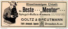 Original-Werbung/ Anzeige 1913 - MENTOR SPIEGEL-REFLEX KAMERA / GOLTZ & BREUTMANN DRESDEN  - ca. 140 x 55 mm