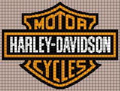 (4) Name: 'Crocheting : Harley Davidson Logo