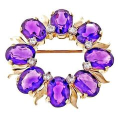 Preowned Tiffany & Co. Amethyst Diamond Gold Circle Pin ($1,750) ❤ liked on Polyvore featuring jewelry, brooches, necklaces, purple, gold jewelry, pin brooch, purple gold jewelry, purple brooch and gold brooch