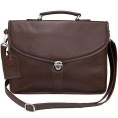 CTM Mens Leather Attache Briefcase