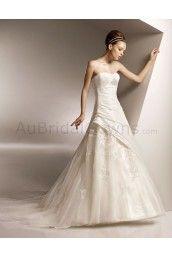Taffeta Softly Curved Neckline Delicately Pleated Bodice A-line Wedding Dress