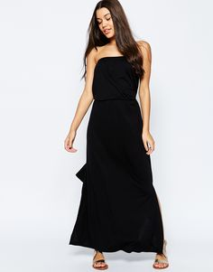 Shop the latest ASOS Bandeau Maxi Dress With Tie Waist trends with ASOS! Latest Dress, Fashion Online, Tie, Skirts, How To Wear, Shopping, Dresses, Dress Black, Holidays