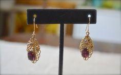 Vintage Earrings Gold Earrings Gold Filigree by talkOfThetown