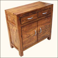 Manufacturing detailsAppalachian Rustic Solid Wood 2 Drawer 2 Door Storage Accent Cabinet is hand crafted with solid hardwood. Modern Rustic Furniture, Simple Furniture, Reclaimed Wood Furniture, Solid Wood Furniture, Contemporary Furniture, Door Storage, Storage Drawers, Storage Spaces, Rustic Dining Table Set
