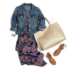 Really like this look, especially the Abee Medium Wash Denim Jacket and Huron Reversible Magnetic Closure Tote