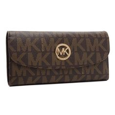 Do Not Lose The Chance To Own Michael Kors Logo Signature Large Coffee Wallets With A Low Price.