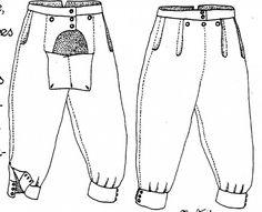 """Une paire de braies du Moyen Âge. Les braies ont la possibilité d'être courtes ou longues. Et servent de """"sous-vêtements"""" aux hommes, au même titre que la tunique pour le haut du corps. Les femmes n'en portent pas."""