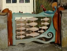 Sea themed wooden garden gate