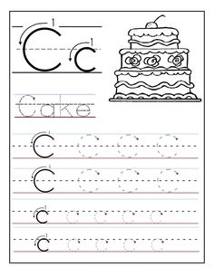 trace the letter c worksheets activity shelter - Preschool Tracing Pages