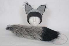 Furry Ear Grey Wolf Hat and/or Tail Set by lemonbrat on Etsy