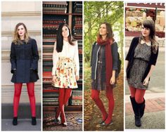 The Lovely Side: 13 Ways to Wear Red Tights Fall Tights, Leggings Outfit Winter, Red Leggings, Tights And Boots, Tights Outfit, Colored Tights, Patterned Tights, Geek Chic Outfits, Fashionable Outfits