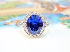 Vintage 10k White Gold Ceylon Sapphire & White Sapphire Halo Engagement Ring - 10k WG 4ct. Blue And White Sapphire Halo Style Cocktail Ring by GranvilleGallery on Etsy