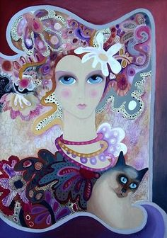 Rezzan Ganiz Crazy Cat Lady, Crazy Cats, Gatos Cats, Purple Art, All About Cats, Pretty Cats, Cat Drawing, Figure Painting, Cat Art