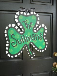 St Patrick's Day Shamrock Wooden Door Hanger by JustHangingOn, $55.00