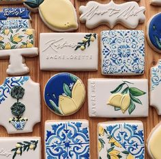 Fancy Cookies, Royal Icing Cookies, Sugar Cookies, Sweetest Devotion, Blue White Weddings, Iced Biscuits, 19th Birthday, Baby Shower Cookies, Cookie Designs