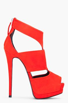 GIUSEPPE ZANOTTI //  RED SUEDE SHARON PUMPS