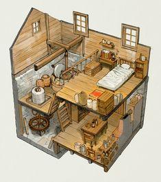 Fantasy House, Fantasy Map, Environment Concept Art, Environment Design, Isometric Art, Medieval Houses, Minecraft Designs, Building Art, Sims House