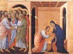 Duccio di Buoninsegna(Italian, c. 1260 - 1319) Parting from St John (panel 2) 1308-11 Tempera on wood, 42 x 54 cm Museo dell'Opera del Duomo, Siena