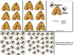 Beehive File Folder Number Matching Game