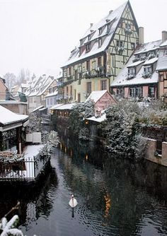 Winter in Colmar, Alsace, France  On the bucket list.  The things I'd do to be in France right now...