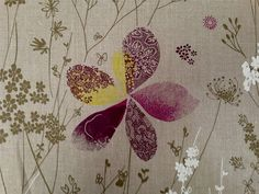 Curtain Fabric Designer French Waterside Natural Aubergine Yellow Linen By Metre