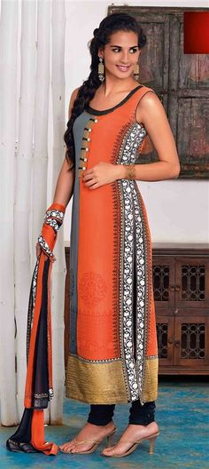 424777: Black and Grey, Orange color family stitched Party Wear Salwar Kameez.