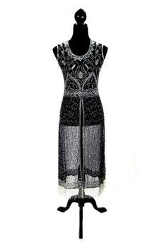 474493320367c 1920's Vintage Panel Fringe Party Dress - The Titanic - Silver on Black -  The Deco