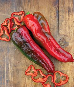 """Sweet Pepper, Thunderbolt Hybrid  A sweet pepper dream come true! One great big beautiful sweet Marconi pepper, the largest we offer, and a marvel for flavor and texture. Prolific plants produce plentiful yields of tapered 13"""" beauties that transition from green to red."""
