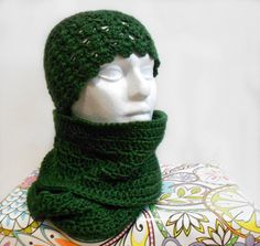 Cowl/Hat Combo  Green Bay Green Game Day Gift by HalesBeeHandmade, $25.00