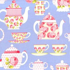 Michael Miller Tea Room Fabric Party Tea Cups Pots with Polka Dots and Roses on Periwinkle Blue Lavender, 1 yard + 1 FQ