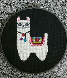 My first Cross Stitch is complete!!! The Happy Alpaca from Space Nona's Stitchery!!! #spacenonasstitchery #tulypsy