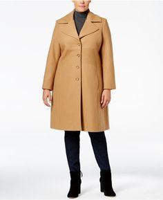 Tommy Hilfiger Plus Size Topstitched Walker Coat