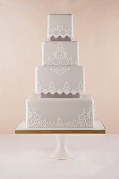 Gorgeous Georgian Lace design wedding cake - Fortnum and Mason Square Wedding Cakes, White Wedding Cakes, Beautiful Wedding Cakes, Gorgeous Cakes, Wedding Cake Designs, Pretty Cakes, Amazing Cakes, Lace Wedding, Purple Wedding