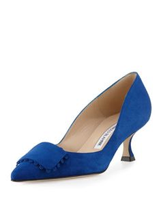 Bottopla+Square-Detail+Suede+Pump,+Cobalt+by+Manolo+Blahnik+at+Neiman+Marcus.