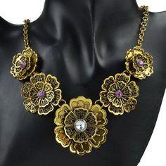 VTG Smoky Dichroic Gold Plate 3 Big Dia Floral Carve Necklace Bib Pendant YC116K