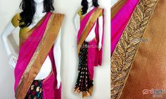 Pink and black half-n-half style saree CODE: SD101 PRICE: Rs.3950 SAREE: Pink chanderi cotton material at the top and benaras brocade material with multicoloured motif on the bottom, with leaf design lace and copper shimmer border BLOUSE: Copper shimmer material