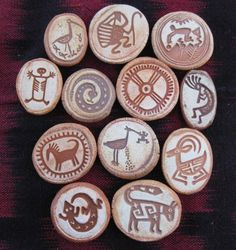 Collection of 12 Ceramic Rock Art Magnets by Azarts @ etsy.com
