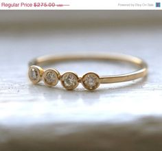 ON SALE 14K Yellow, white and rose Gold 4 Diamonds Ring. $233.75, via Etsy.