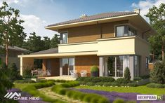 This house plan shows how lovely a classic house can be. The house is simple square shape with attached garage and outdoor porch. Double Story House, Storey Homes, Cabins And Cottages, Spacious Living Room, Classic House, House Floor Plans, Home Deco, Interior Architecture, Villa