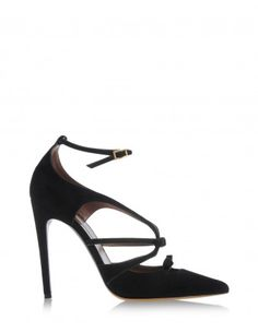 Tabitha Simmons Black Suede Bow Pump