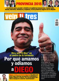 Diego Maradona en la portada de revista Veintitrés que sale esta noche.