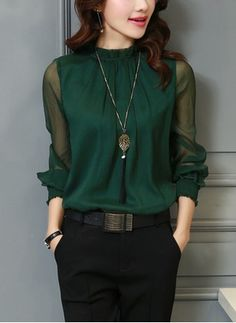 Chiffon Blouse New 2017 Elegant OL Work Wear Women Tops Long Sleeve Stand Neck Shirts Femme Blouses Casual Solid Color Blusas Look Fashion, Autumn Fashion, Womens Fashion, Dress Fashion, Cheap Fashion, Fashion Trends, Trendy Fashion, Fashion Outfits, Mode Outfits