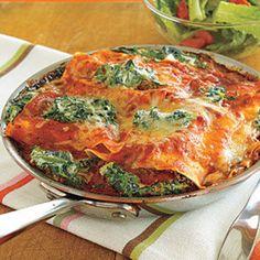 Spinach-Ricotta Skillet Lasagna #recipe