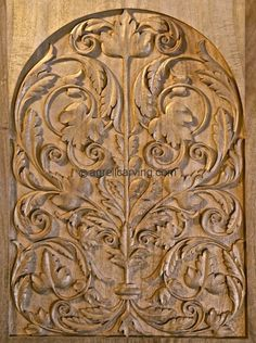 Wood carved door panel - Late German Renaissance - hand carved by Agrell Architectural Carving