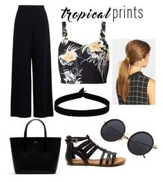 """""""Sin título #16"""" by luliperilli ❤ liked on Polyvore featuring Miss Selfridge, Zimmermann, The Flexx, Lacoste, Ficcare, tropicalprints and hottropics"""
