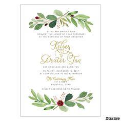 Watercolor Greenery Marsala Wedding Invitation