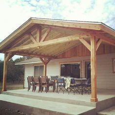 Chappell timber construction Porch Roof, Side Porch, Cottage Porch, Cottage Exterior, Backyard Pavilion, Backyard Patio, Covered Patio Design, Carport Patio, Porch Addition