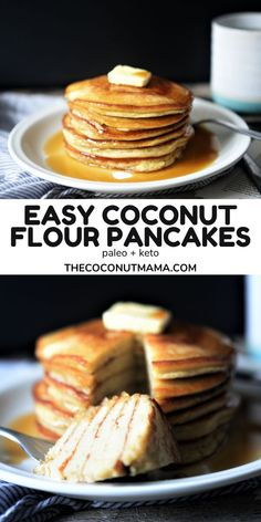 Coconut flour pancakes are a healthy breakfast for anyone eating a keto, paleo, or gluten-free diet. Top them with butter and sugar-free maple syrup! Recipe Using Coconut Oil, Coconut Recipes, Gluten Free Recipes, My Recipes, Real Food Recipes, Paleo Pancakes Coconut Flour, Paleo Dessert, Dessert Recipes, Delicious Meals