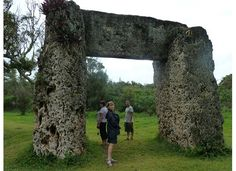 """Tongatapu, TONGA: the """"famous"""" Ha'amonga Trilithon Reserve, South Pacific's Stonehenge.  I agree that the the ruins are similar to those of famous English site but only one structure is constructed from coral stones, in the shape of a square gate.  This gate was supposedly used to track the change in seasons."""