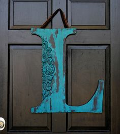 "24"" letter, disressed, teal and brown"